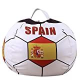 YHOUSE Soccer Bean Bag Storage for Kid's Stuffed Animals - 2018 World Cup 32 Nations Flag Style Push Toy Organizer for Child Bedroom, Storage Solution for Clothes, Towels and Yarn (SPAIN, 26'')