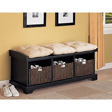Strange Coaster Entryway Bench With Storage Baskets And Cushions Black Gamerscity Chair Design For Home Gamerscityorg