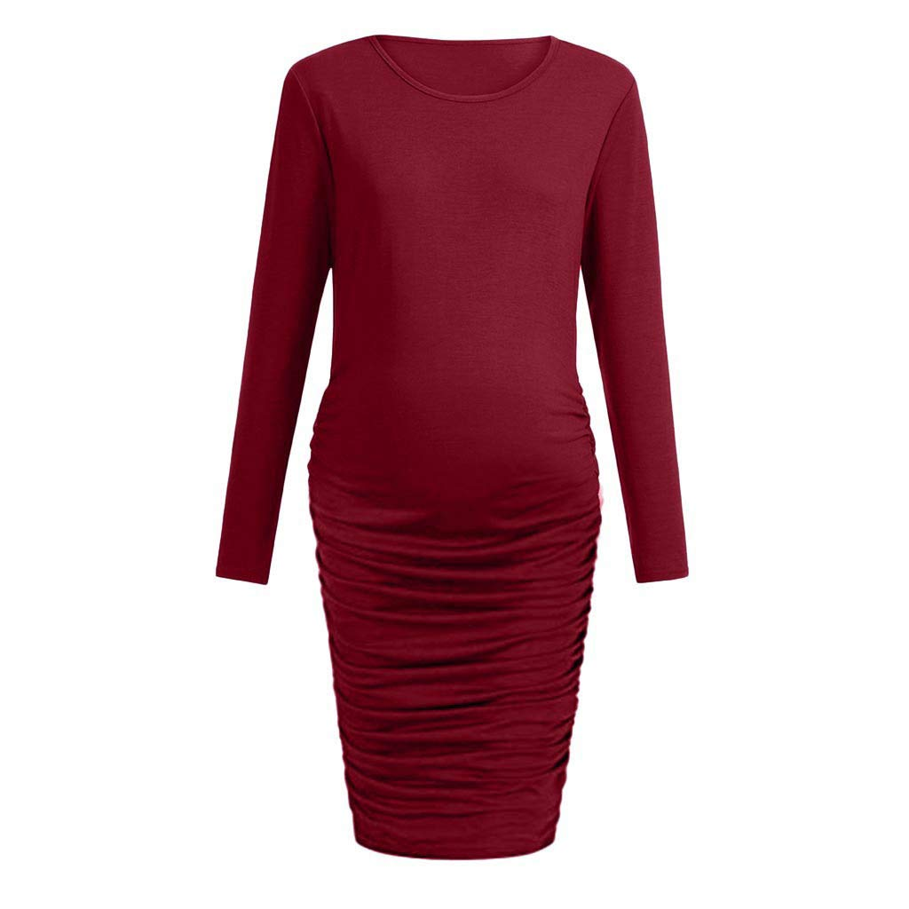 AMSKY 2019 Women Wraped Ruched Maternity Pregnant Solid Dress Clothes T-Shirt Dress Knee Length