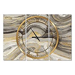 Designart Glam Gold Canion Wall Art Design Modern 3 Panel Wall Decorative Clock - Home Decorations for Home, Living Room,Bedroom, Office Decoration Multi Panel Metal Wall Clock