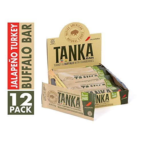 Cranberry Jalapeno - Bison Pemmican Meat Bars with Buffalo, Turkey & Cranberries by Tanka, Gluten Free, Beef Jerky Alternative, Jalapeno, 1 Oz, Pack of 12