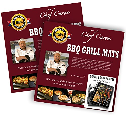 Bundle of 2 Sets - Pro BBQ Grill Mat by Chef Caron - Each Set with Two Heavy-Duty Grilling Sheets, Nonstick, Ultra-slick, Extra Thick .25mm