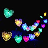 Outdoor Solar String Lights,KINGCOO 20ft 30 LED Love Heart Shape Waterproof Christmas Solar Starry Fairy Decorative String Lights with 8 Modes Mood Lighting for Halloween Garden Wedding Party Home Patio Xmas Tree (Multicolor)