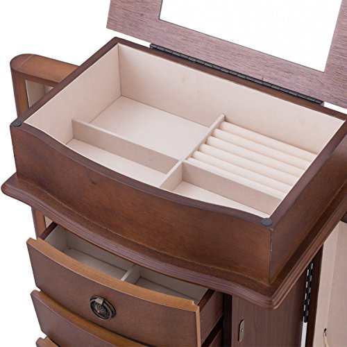 Giantex Armoire Jewelry Cabinet Box Storage Chest Wood Walnut Finish Stand Organizer Wood with Side Doors and 8 Drawers by Giantex (Image #5)
