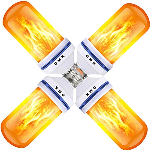 - OMK - LED Flame Effect Fire Light Bulbs - Newest Upgraded 4 Modes Orange Flickering Fire Simulated Lamps - E26 Base LED Bulb - 6W Energy Efficient Fire Lights for Indoor/Outdoor Decoration (4Pack)