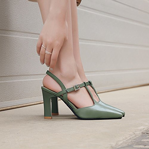 Carolbar Women's Elegant Charm Rhinestones High Heel Buckle Dress Shoes Green F7snH