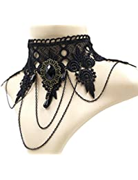 Elegant Vintage Princess Lace Gothic Necklace Bracelet Victorian Lolita Choker Pendant Vampire Chain