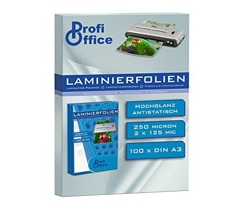 ProfiOffice Laminierfolien, DIN A3, 2 x 125 Mikron, 100 Stück (19015)