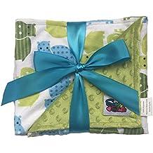 Baby Reversible Minky Dot Stroller Blanket Moss Green Hippos
