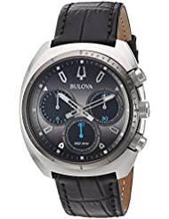 Bulova Mens Curv Collection Quartz Stainless Steel and Leather Casual Watch, Color:Black (Model: 98A155)