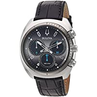 Bulova Men's Curv Collection' Quartz Stainless Steel and Leather Casual Watch, Color:Black (Model: 98A155)