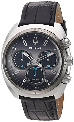 Bulova Men's Curv Collection Stainless Steel Analog-Quartz Watch with Leather-Alligator Strap, Black, 22 (Model: 98A155) -  Bulova Corporation