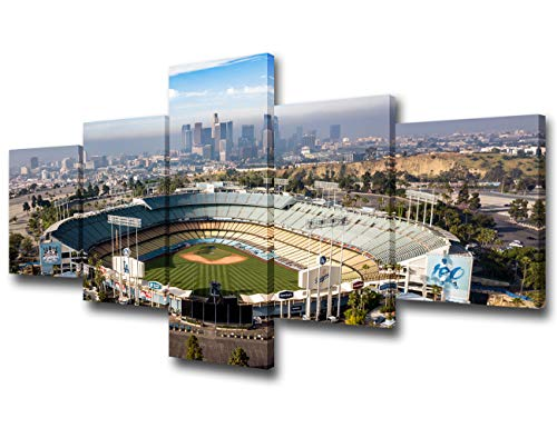 Los Angeles, California - The Famous Dodger Stadium with Downtown LA in the Background Pictures for Living Room 5 Piece Canvas Wall Art Modern Artwork Home Decor Stretched Ready to Hang - 50''Wx24''H
