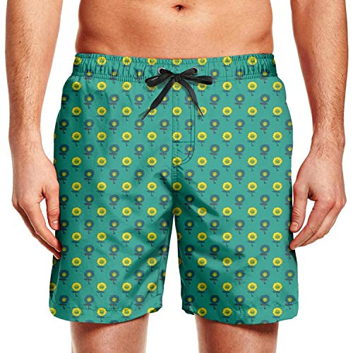 Young Men Colorful Sunflower Green Swimming Trunks Fashion Bathing Suit Beach Shorts
