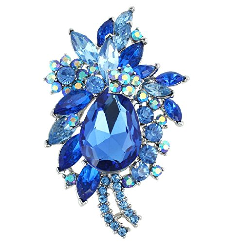 EVER FAITH Women's Crystal Vintage Style Flower Teardrop Brooch Pendant Sapphire Color Silver-Tone