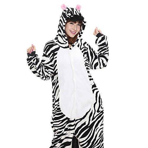 Unisex Adult Halloween Zebra Costume, Attractive Animal Onesie Designs Pajamas L (Zebra Costumes For Adults)