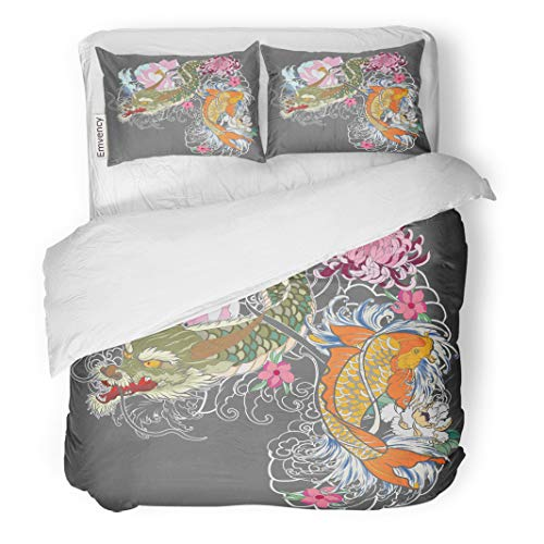 Semtomn Decor Duvet Cover Set Twin Size Dragon and Koi Fish Flower Tattoo for Arm Japanese 3 Piece Brushed Microfiber Fabric Print Bedding Set Cover