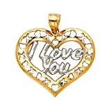 TGDJ 14K Yellow Gold I Love You Heart Pendant - Height 23 MM Width 26 MM