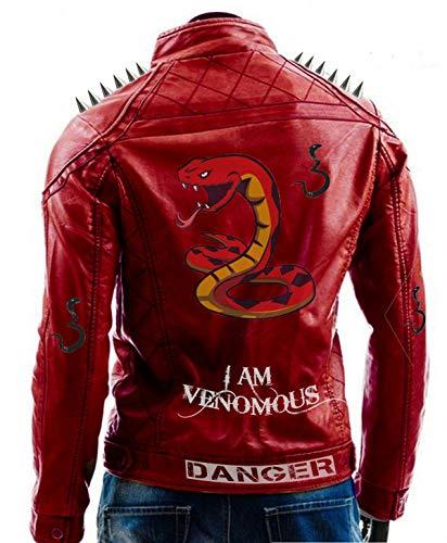 Mens Biker I am Venomous Last Bite Last Breath Serpents Studded Spikes Red Motorbike Leather Jacket ()