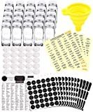 25 Glass Spice Jars Complete Set: 667 Chalkboard & Clear Printed Spice & Pantry Labels - 4 fl Oz Empty Square Bottles w/Pour/Sift Shaker & Airtight Cap - Silicone Funnel Included by KITCHEN ALMIGHTY