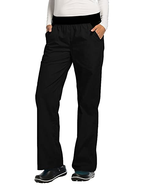 3fe28e2f5b6 Cherokee Women's Flexibles (Contrast Black) Mid Rise Knit Waist Pull-on Pant ,