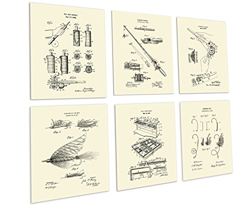Gnosis Picture Archive Fly Fishing Decor Set of 6 Unframed Cream Art Prints Fly Rod and Fly Lure Invention Patents_Flyfishing_CRM6A by Gnosis Picture Archive