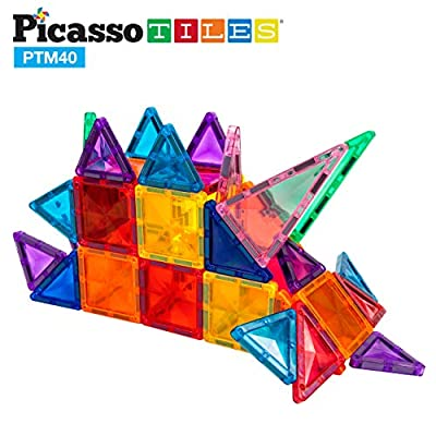 PicassoTiles 40 Piece Magnetic Building Block Mini Diamond Series Travel Size On-The-Go Magnet Construction Toy Set STEM Learning Kit Educational Playset Child Brain Development Stacking Blocks PTM40: Toys & Games