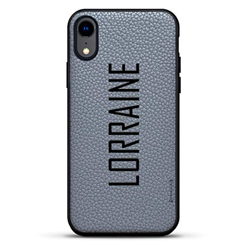 Name: Lorraine, Modern Font Style | Luxendary Leather Series Slim Edition Case w/Genuine Leather Back & 3D Printed Design for iPhone XR (6.1
