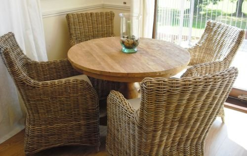 Madera de teca recuperada 1 m Circular ibatch mesa y sillas ...