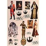 "Star Wars FATHEAD Set of 19 Vinyl Wall Graphics Re-Usable Decals Luke Skywalker, Princess Leia, Obi-Wan, C3P-O, R2-D2, (Main Graphics 7"" EACH)"