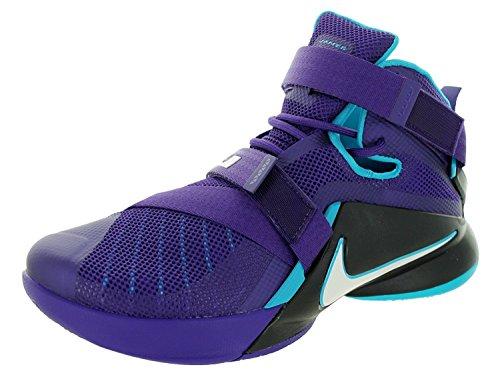 Nike Mens Lebron Soldier IX Basketball Shoe, Court Purple/White/Blk/Bl Lgn, 43 D(M) EU/8.5 D(M) UK