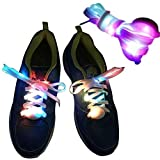 TILO Nylon LED Glow Flashing Safety Light up Shoes Laces for Party Hip-hop Dancing Slap Bracelets Fashion Sports Reflective Armband Cycle Gear No Tie Flat Elastic Athletic Running Shoelaces MultiColor