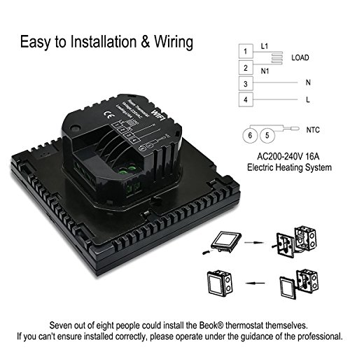 Termostato de ambiente BEOK TGT70WIFI-EP, marca Beok, para calefacción eléctrica debajo del piso, con control remoto por teléfono móvil, color negro.