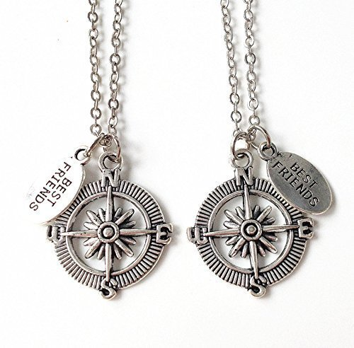 a8d8e5aeb8ae3 Amazon.com: best friend long distance,compass necklace,graduation ...