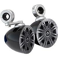 Package: Pair of Kicker 41KM42CW 4 Inch 2-Ohm 2-way Coaxial Marine Speakers Totaling 150 Watts Peak/50 Watts RMS + Pair of Kicker KMMTES Mini Marine Wakeboard Tower Enclosures