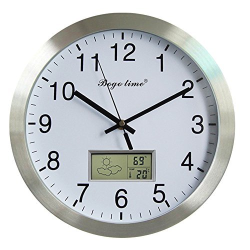 Silent Non-ticking Aluminum Wall Clock with Weather Forecast