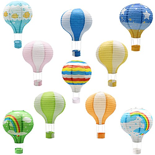 Hanging Hot Air Balloon Paper Lanterns, Reusable Chinese Japanese Party Ball Lamps Decorations Wedding Birthday Anniversary Christmas Engagement, Set of -