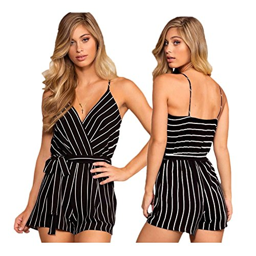 Oumal Women Cute Striped Romper Backless V Neck Spaghetti Strap Boho Summer Jumpsuit With Belt