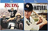 The Natural Robert Redford + Rudy Football & Baseball Double Feature Blu Ray Sports Movie Bundle