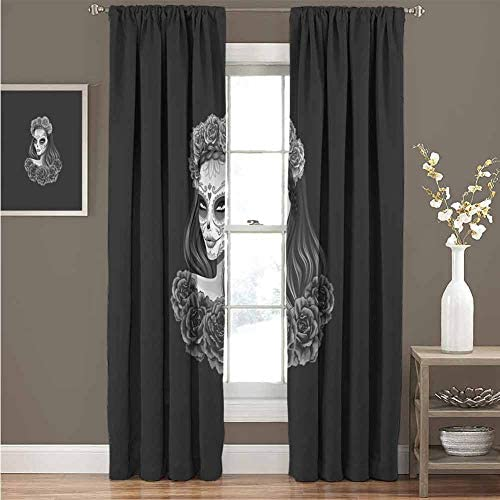 Day of The Dead for Bedroom Blackout Curtains Gothic Young Girl in Calavera Make Up Hairstyle with Roses Blackout Curtains for The Living Room W72 x L72 Inch Charcoal Grey Pale Grey