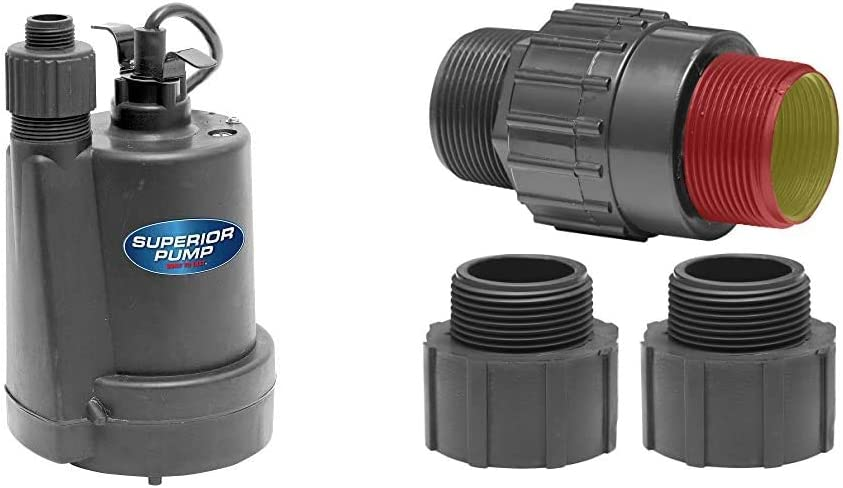 Plastic Fits all 1-1//4-Inch or 1-1//2-Inch MIP or FIP Superior Pump 91250 Utility Pump Black /& 99555 Universal Check Valve 1//4 HP