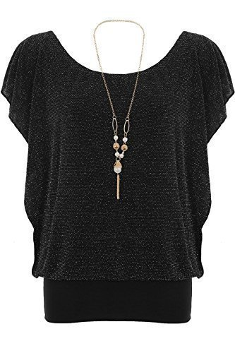 ZAFIRO Mujer Holgado Chifón Collar De Perlas Manga murciélago Forrado Blusa Para Mujer blusa - Negro