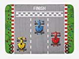 Lunarable Boy's Room Bath Mat, Car Race Formula One Automobiles Competition Winner Champion Speed Team Graphic, Plush Bathroom Decor Mat with Non Slip Backing, 29.5 W X 17.5 W Inches, Multicolor