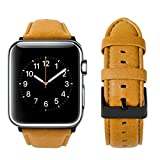 top4cus Genuine Leather iwatch Strap Replacement Band Stainless Metal Clasp, Compatible Apple Watch Series 4 Series 3 Series 2 Series 1 and Sport Edition (Matte Light Brown a, 38 mm)
