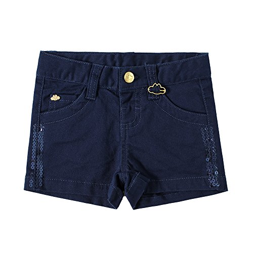 Snowdreams Girls Casual Cotton Adjustable Waist Shorts with Pockets Color Navy Size 12 -