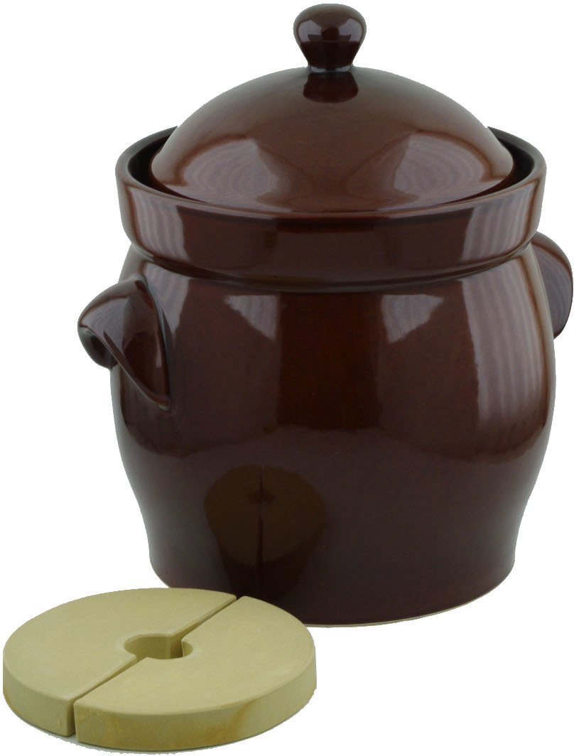 Fermentation Harvest Pot with Stone Weight Original Bunzlau made in Boleslawiec, Poland. Durable quality product. (2.6 gal)