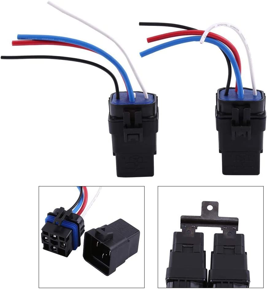 Waterproof Car Integrated Socket 1 Set 12v DC 40A 4Pin Automobile Relay Auto Socket for Car Alarms