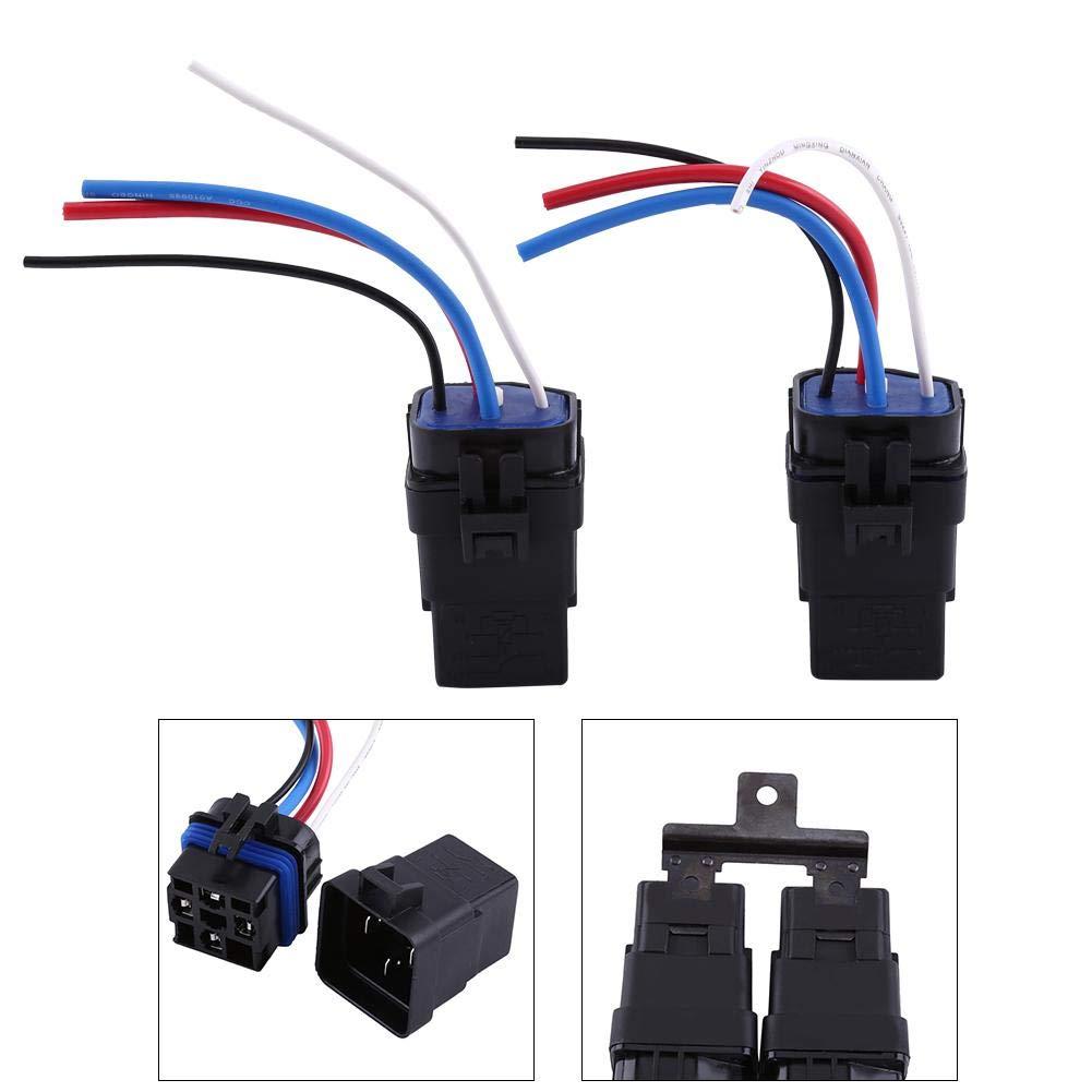 Oumij Rel/és Autom/áticos 1 Juego 12v DC 40A 4Pin Cable de Rel/é de Autom/óvil Impermeable Coche Integrado Enchufe Autom/ático