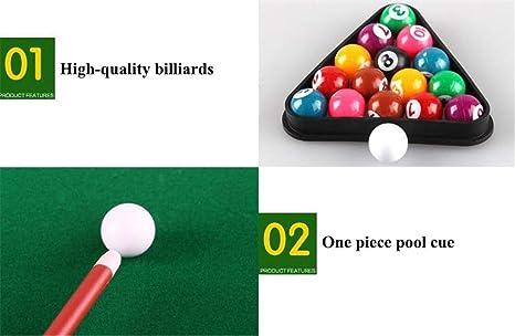 Billares Petite – el clásico juego de mesa de billar con 6 stands con bolsillos laterales/esquineros adjuntos; un juego animado de la diversión de Snooker a través de la ayuda de rack