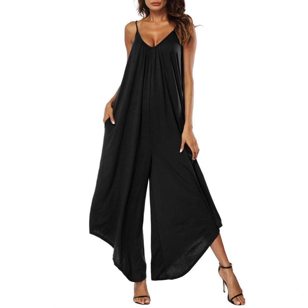 Mikey Store Women's Deep V Neck Loose Fit Tank Sleeveless Jumpsuit with Pockets